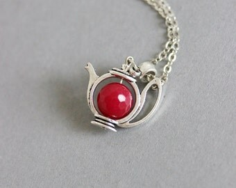Ruby Teapot Pendant, Teapot Necklace,Teapot Pendant, Teapot Jewelry, Cute Pendant,For Tea Lovers, Gift for Mom, Ruby Pendant, Silver Teapot