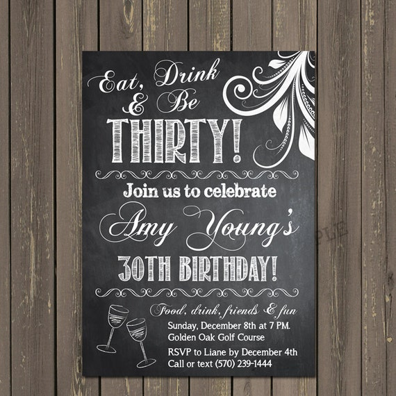 Adult birthday Invitation, 30th Birthday Invitation, Chalkboard ...