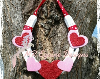 SALE - Valentine's Day, Heart,Red, Pink, White Horseshoe Wall Decor