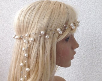 Bridal Headband, wedding head piece, pearl and rhinestone tiara, brides accessories, gift for her
