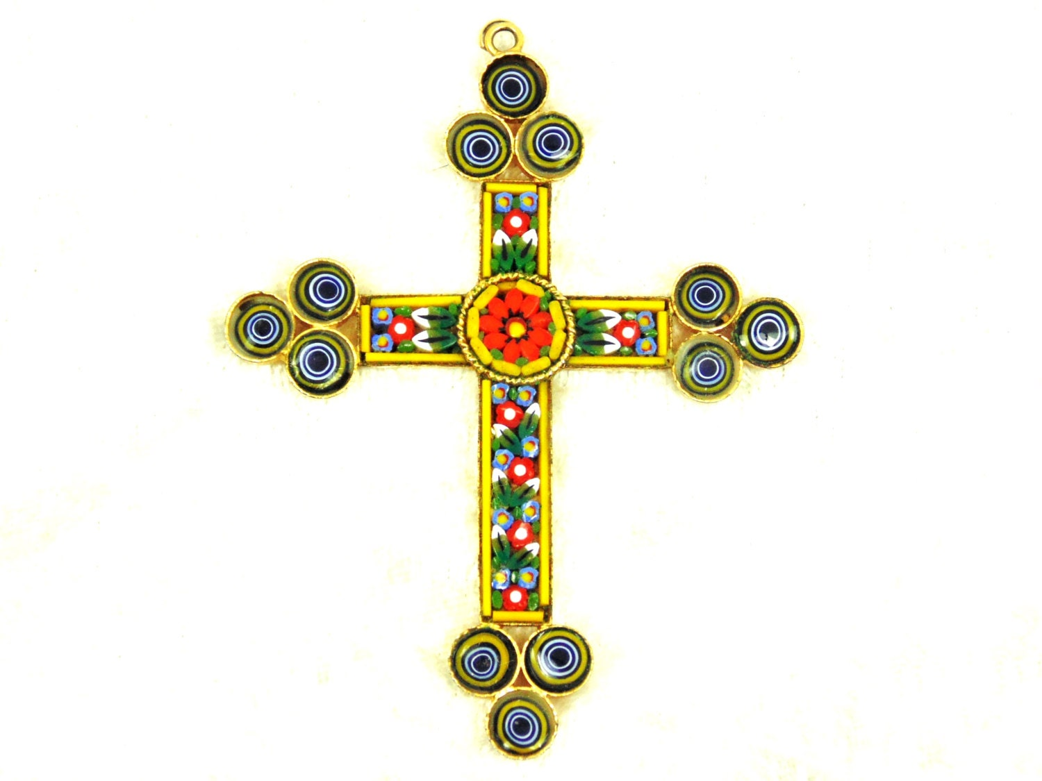 Mosaic Cross Pendant Vintage Made In Italy Blue Yellow