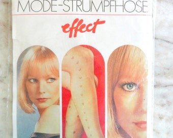 60s NWT Lg MODE-STRUMPFHOSE Esda Made in Germany Hose Nos New in Package Heart Pattern Vintage Cool Pantyhose Fashion Tights Mid Century