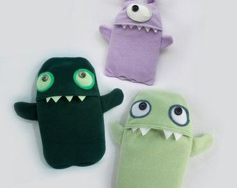 Pajama Monsters - Healing Hot Water Bottle Cozy + Ice Pack Cozy - Hypoallergenic Fleece - Easy Care Bottle Cover