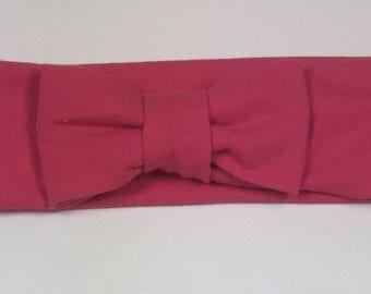 Fushia/Rose bow turban headband