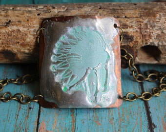 Indian Chief Head Molten Solder and Copper Bracelet