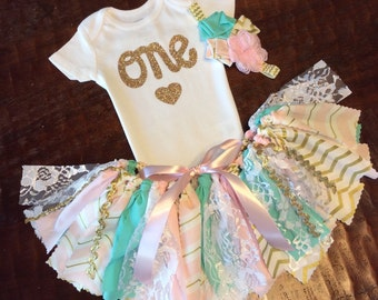 3 Piece Pink, Mint Green / Teal and Gold Glitter with Lace Birthday Outfit with Onesie/Shirt, Fabric Tutu & Headband, Birthday Girl Outfit