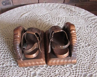 Vintage Baby Copper Coated Shoe Bookends.