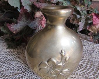 Vintage Solid Brass Flowered Vase Decorative Crafts Inc.