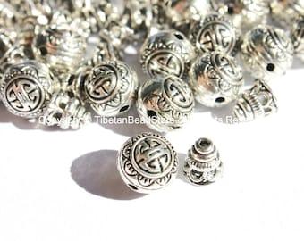 3 Sets -  Light Weight Tibetan Silver 3 Hole Guru Bead Sets - Guru Beads - Mala Making Supplies - GB42-3