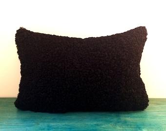 Wavy Rich Black Persian Lamb Pillow Cover