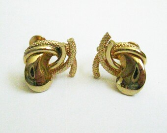 Antique Mid Century Gold Tone Earrings Vintage Gift for Women Screw Back Earrings Classic Mid Century Fashion Accessory Circa late 1950's