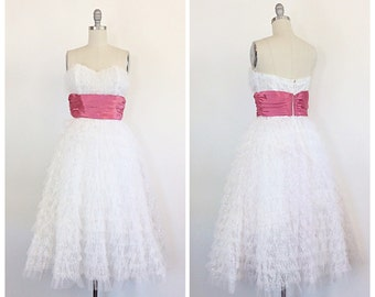 50s Pink & White Party Dress / 1950s Vintage Strapless Wedding Prom Dress / Medium / Size 6