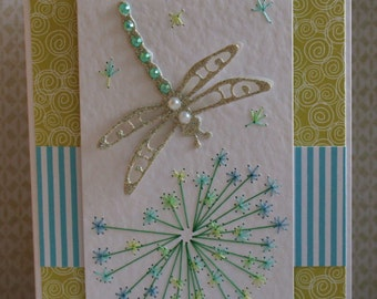 Handmade Stitched Dandelion and Dragonfly  Card