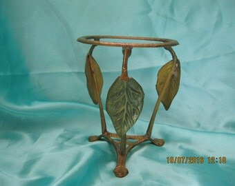 Vintage Gold painted Candle holder wrought iron frame with leaves used
