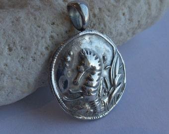 Seahorse Nautical Beautiful large Silver Precious Metal Clay Pendant