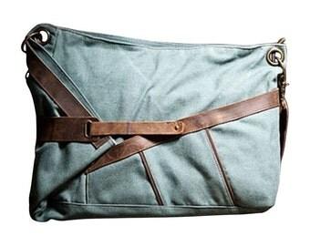 Canvas and Leather Messenger Bag Refurbished