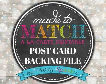 Invitation Post Card Backing File - Digital file