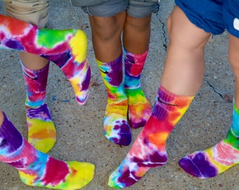 Psychedelic Tie Dye Nike Crew socks, unicorn fun hand dyed accessories, sports team, athletic wear, unique variations, Tie Dye Art, Rainbow