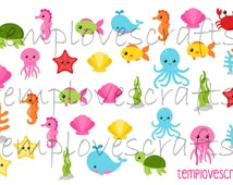 Sea Creatures Clipart Set for ECLP, happy planner, filofax, plum paper planner, kikki k or any planner