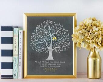Personalized Anniversary CANVAS Wedding Gift Lyrics Quote Scripture Birds Tree Custom Unique Art Distressed Rustic Aqua Gray CUSTOM QUOTE