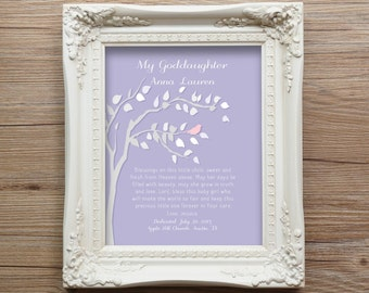 Gift For Goddaughter Dedication God Daughter Christening Baby Personalized Gift Art Print Gift from GodParents Nursery Decor Wall Art SALE