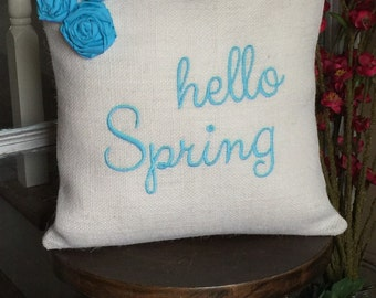 Burlap Pillow Cover with removable insert, Spring Pillow, Hello Spring,  Easter Pillow Cover,  Shabby Chic Pillow