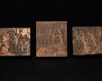 3 x printing red copper blocks for letterpress with religious scenes very detailed