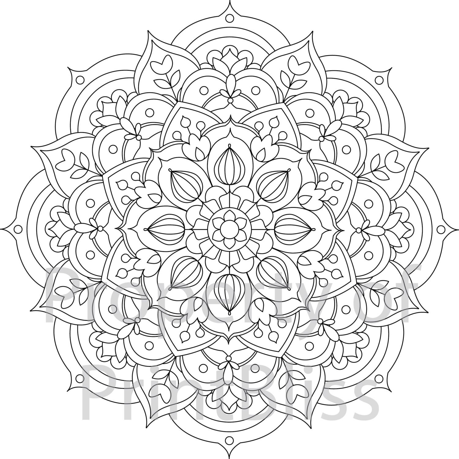 30 flower mandala printable coloring page. Black Bedroom Furniture Sets. Home Design Ideas