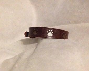 Handpainted Leather Dog Collar