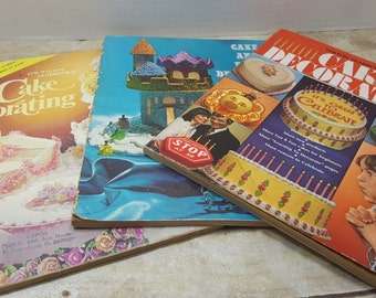 Set of 3 Vintage Wilton Cake Decorating books, 1960s-1970s, vintage cookbook