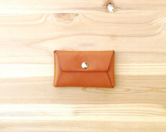Handmade Leather Card Case, Card holder with snap button