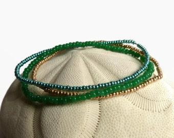 3 seed bead bracelets, emerald, gold, stretch bracelet, boho bracelet, beaded bracelet, green
