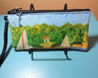MONET painting, SAILBOATS, WRISTLET for iPhone, camera, eyeglasses, zipper closure, 4X7