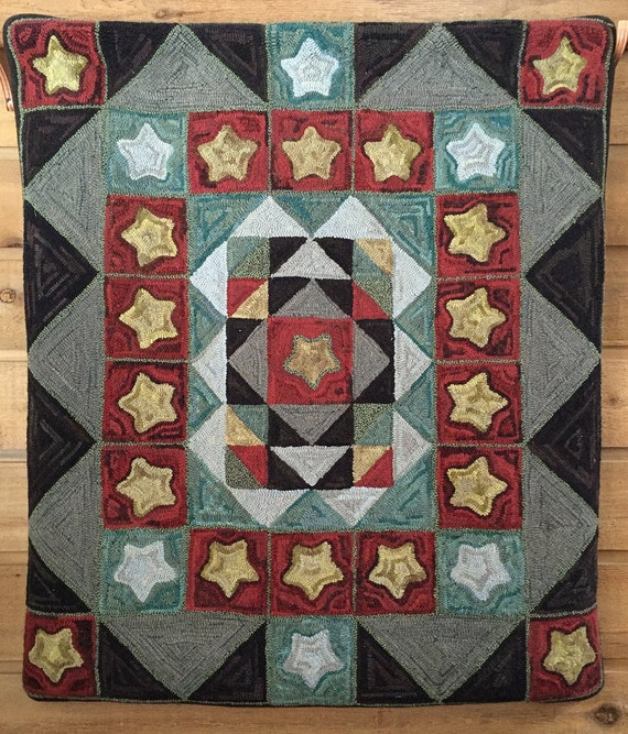 "Rug Hooking Pattern, ""Stars Over the Sawtooths"" 49""x 56""  P127"