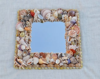 "Beach Decor Seashell Mirror 19x19""- One of a Kind"