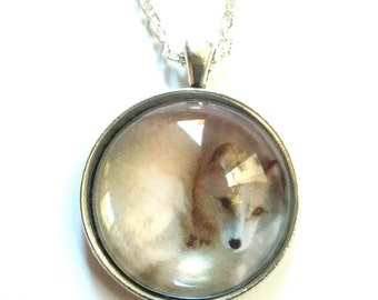 glass necklace fox animal picture pendant necklace wolf  artic fox
