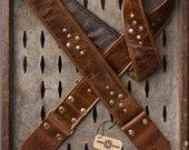 "Weathered Deuce Series 2"" brown leather guitar strap"
