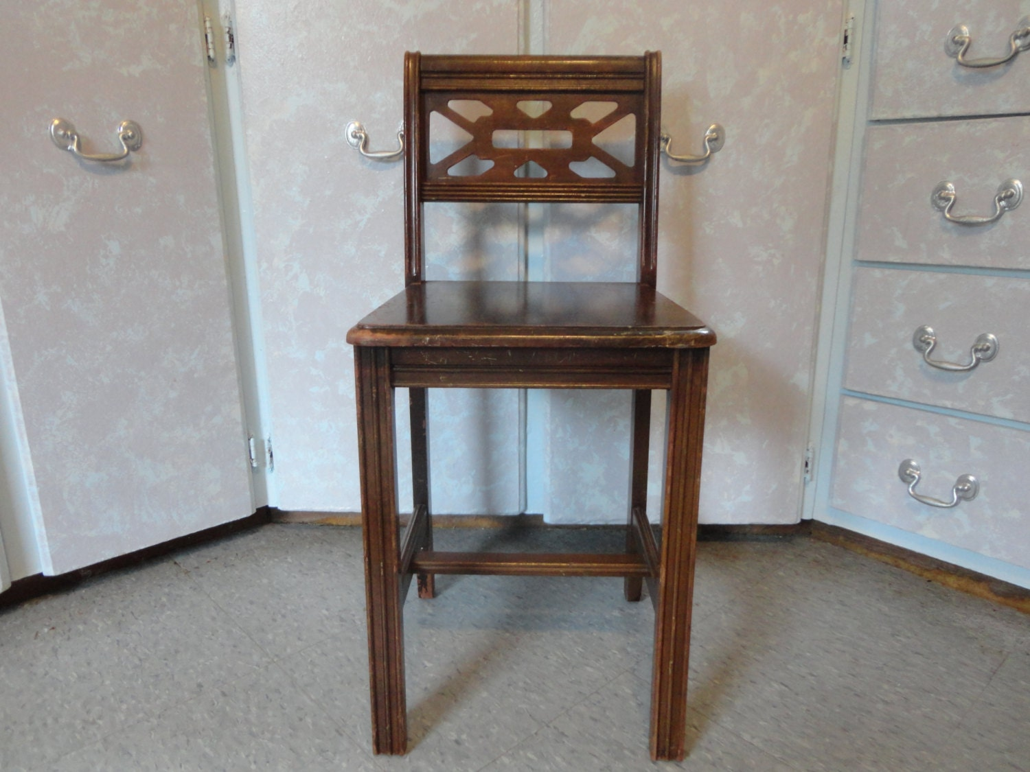 Vintage VANITY WOOD CHAIR Low Back Wood Bedroom By Joansfinds