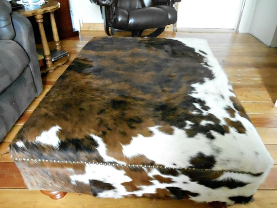 Genuine Cow Hide Cowhide Ottoman Footstool Bench Chair Coffee Table Custom Order To Size