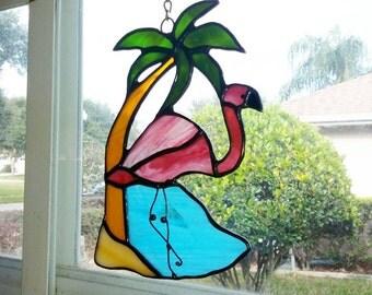 Stained Glass Flamingo,Pink Flamingo,Palm Tree,Tropical Scene,Handmade,Suncatcher,Garden Decor,Gift for Gardener,Gift for Mom,Bird Lovers