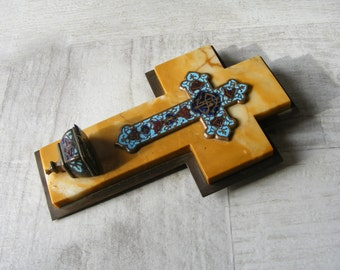 Little Antique French Cloisonné  Enamel Bénitier ,Lobed Enamel Holy Water Font,on a marble base,19 th .