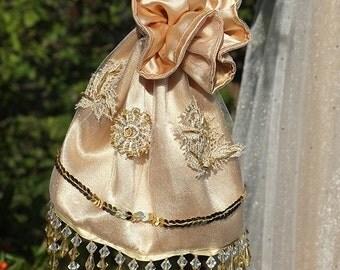 Golden Edwardian bag handmade, Regency drawstring bag, Edwardian purse Regency purse, Jane Austen, beaded wedding purse, reticule