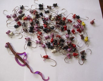 100 Vintage Handmade Fishing Lures, Jigging Fish Lures, Fishing Lure Lot, Fisherman Gift,  Bass Lure, MeatHead Jigs,  Jig Baits