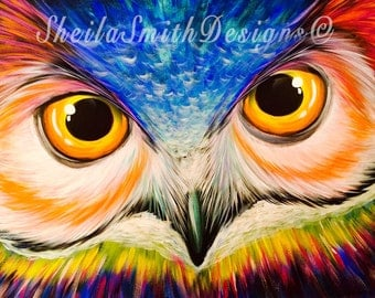 Colorful and Vibrant Owl Painting, Owl Art, Owl Decor, Hand Painted, Acrylic and Oil by artist, Sheila Ann Smith