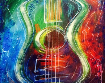 Guitar Painting, Hard Rock Art, Electric Guitar, Acoustic Abstract - Hand-Painted