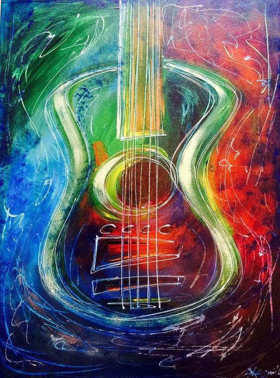 guitar painting hard rock art electric guitar acoustic. Black Bedroom Furniture Sets. Home Design Ideas