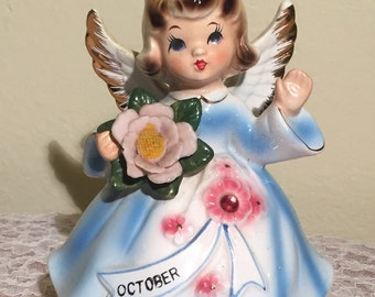 Vintage October Birthday Angel/Music Box by Lefton