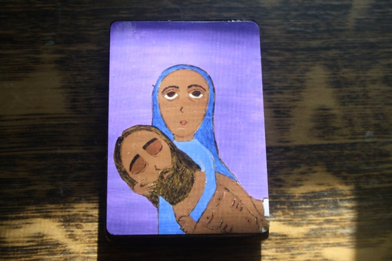 """2.5"""" X 3.5"""" Mary with Jesus Taken down from the Cross Byzantine Folk style icon on wood by DL Sayles"""