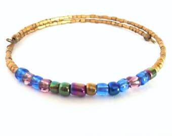 Ethical Minimalist Bracelet in Gold and Iridescent Blue  - Twilight Collection  - New Autumn 2016