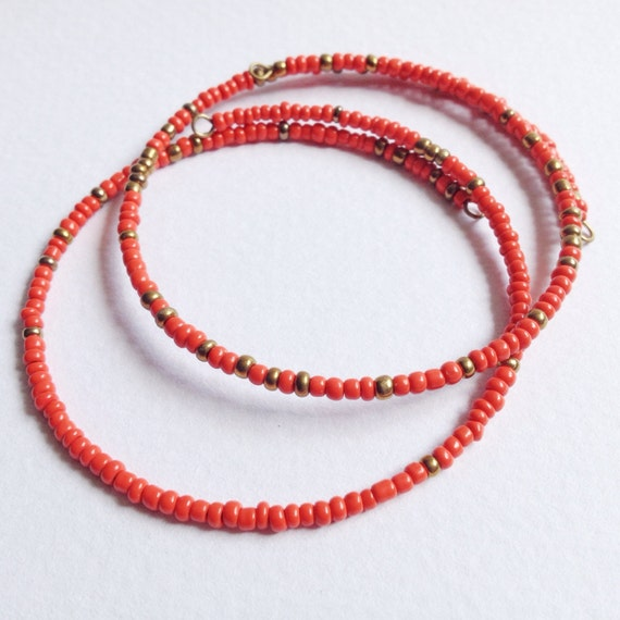 Set of 2 Eco Friendly Red & Gold Minimalist Friendship Bracelets